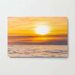 Stunning sunset above the clouds Metal Print