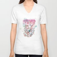 clover V-neck T-shirts featuring Floral clover by /CAM