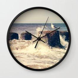 Seagull on stump Wall Clock