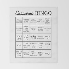 Corporate Jargon Buzzword Bingo Card Throw Blanket