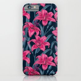 Pink lily flowers iPhone Case
