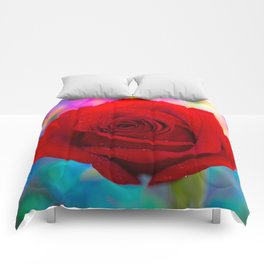 Red Rose and Rainbow Bokeh Comforters