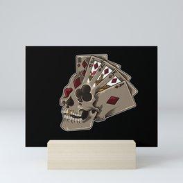 Poker Skull | Card Dealer Gambler Luck Jackpot Mini Art Print