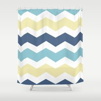 eevee Shower Curtains featuring Vaporeon by Halamo Designs