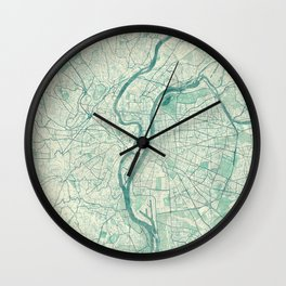 Lyon Map Blue Vintage Wall Clock