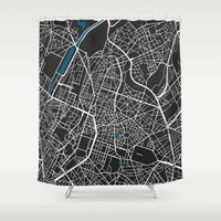 brussels Shower Curtains featuring Brussels city map black colour by MCartography