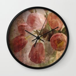 peach tulips Wall Clock