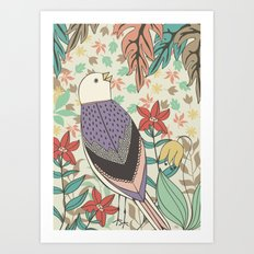 Bird and Autumn Leaves Art Print