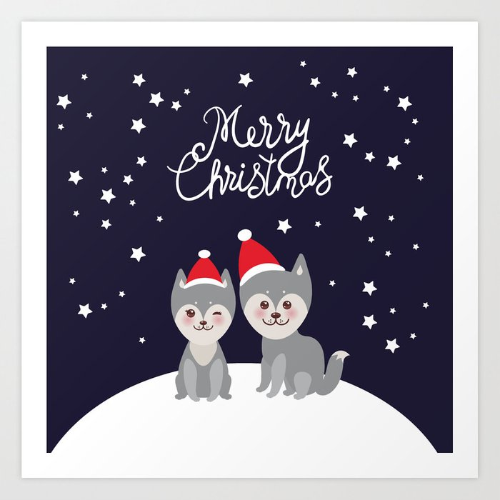 Merry Christmas Funny Images.Merry Christmas New Year S Card Design Funny Gray Husky Dog In Red Hat Kawaii Face With Large Eyes Art Print By Ekaterinap
