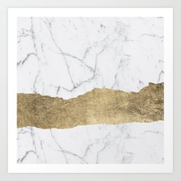 Elegant faux gold foil gray white modern marble Art Print