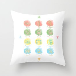 Twelve Zodiac Teeth Throw Pillow