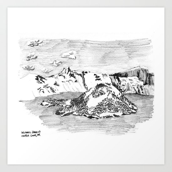 Drawing of Wizard Island in Crater Lake from the Rim by frenchholt