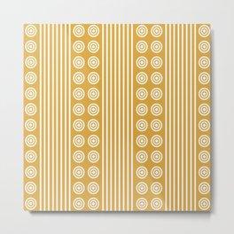 Geometric Golden Yellow & White Vertical Stripes & Circles Metal Print