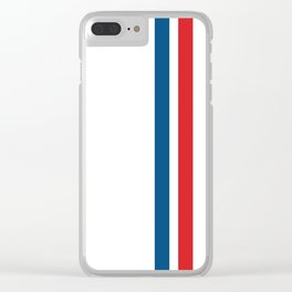 McQueen – Red and Blue Stripes Clear iPhone Case