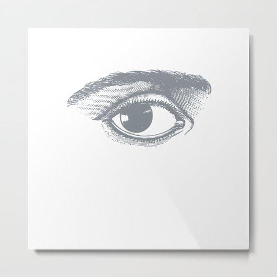 I see you. Gray on White Metal Print