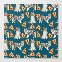 Sheltie shetland sheepdog pizza slices cheese pizzas dog breed pet friendly custom dogs Canvas Print
