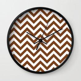 Chocolate Brown Chevrons Pattern Wall Clock