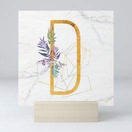 Modern glamorous personalized gold initial letter D, Custom initial name monogram gold alphabet prin Mini Art Print