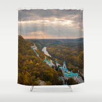 ukraine Shower Curtains featuring Holy Mountains Monastery (Ukraine)  by Limitless Design