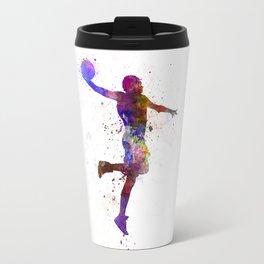 young man basketball player one hand slam dunk Travel Mug