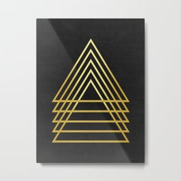 Fashion pattern gold triangles Metal Print