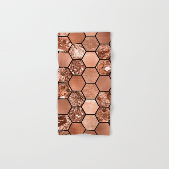 Rose gold hexaglam Hand & Bath Towel