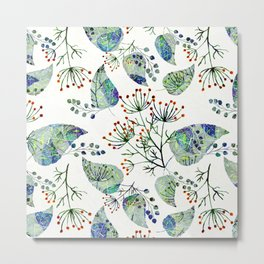 Abstract floral pattern .Orange flowers blue green leaves on white Metal Print
