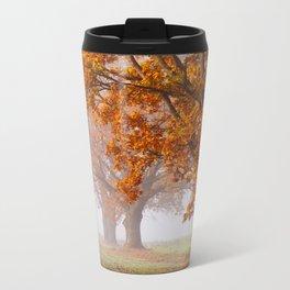 Oaks in the misty Autumn morning (Golden Polish Autumn) Metal Travel Mug