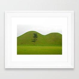 Hill tombs and tree, Korea Framed Art Print