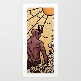 Stained glass daemon Art Print