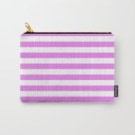 Horizontal Stripes (Violet/White) Carry-All Pouch