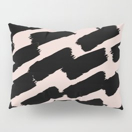 Brushstrokes - Pink & Black Pillow Sham