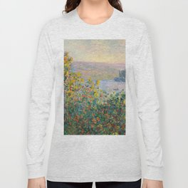 1881-Claude Monet-Flower Beds at Vétheuil-73 x 92 Long Sleeve T-shirt