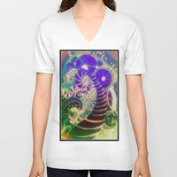 paisley V-neck T-shirts featuring paisley by Rebecca Ashe