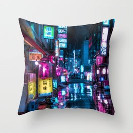 Cyberpunk Aesthetic in Tokyo at Night Vertical Throw Pillow