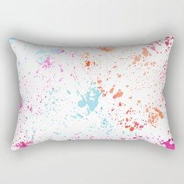 Hand painted pink teal orange watercolor paint splatters Rectangular Pillow