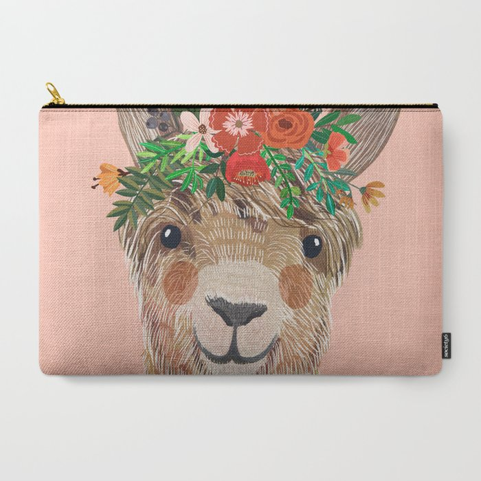 Llama_with_Flower_Crown_by_Mia_Charro_CarryAll_Pouch_by_Mia_Charro__Large_125_x_85