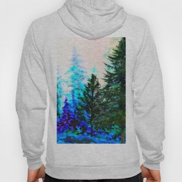 SCENIC BLUE MOUNTAIN GREEN PINE FOREST Hoody