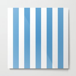 Carolina blue - solid color - white vertical lines pattern Metal Print