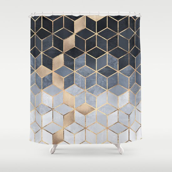 Soft Blue Gradient Cubes Shower Curtain By Elisabethfredriksson | Society6