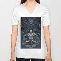 korra V-neck T-shirts featuring Korra by Alex Rodway Illustration