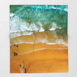 Ocean Waves Crushing On Beach, Drone Photography, Aerial Photo, Ocean Wall Art Print Decor Throw Blanket