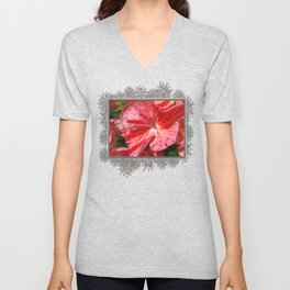 Zonal Geranium named Mosaic Red Unisex V-Neck
