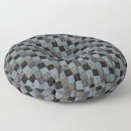 Rustic Teal Blue Green Black Patchwork Floor Pillow