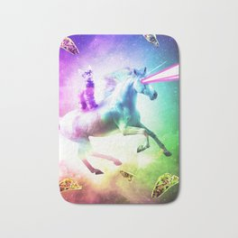Space Cat Riding Unicorn - Laser, Tacos And Rainbow Bath Mat