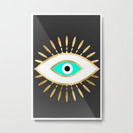 evil eye gold foil print Metal Print