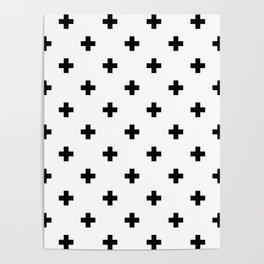 Swiss cross pattern in black Poster