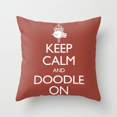 Keep Calm & Doodle On (Red) Throw Pillow