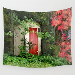 The Red Outhouse Door Wall Tapestry