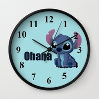 chibi Wall Clocks featuring Chibi Stitch by Katie Simpson a.k.a. Redhead-K